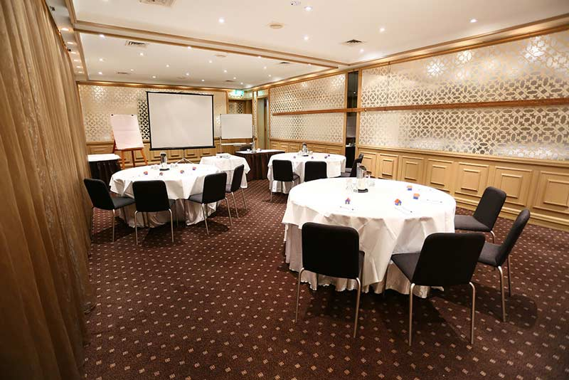 Photo of the Wellington Room set up for a conference at Brighton Savoy