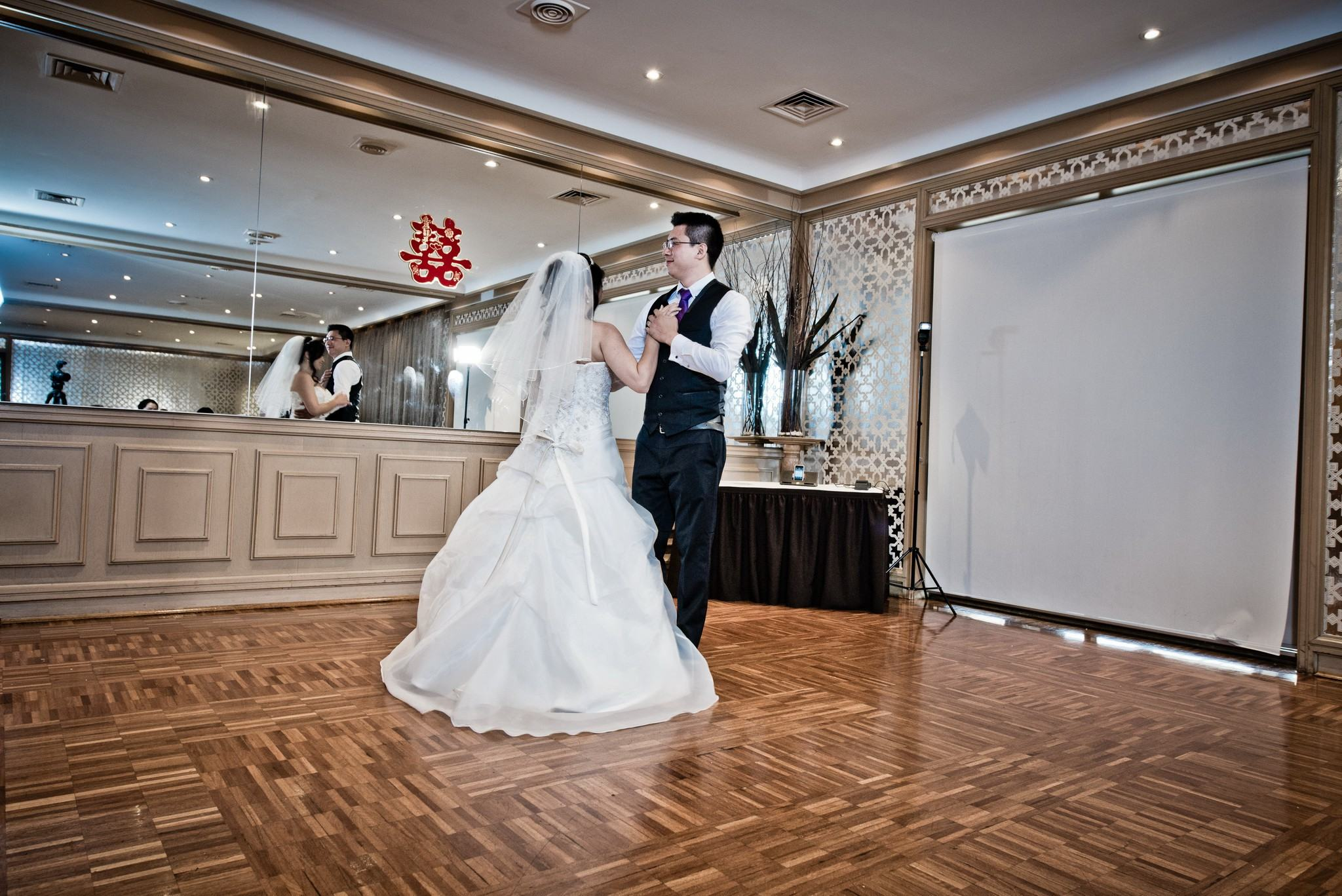 Bride and groom dancing in the Wellington Room at Brighton Savoy