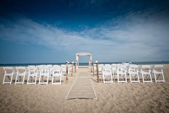 Photo of a wedding ceremony set up at Brighton Beach