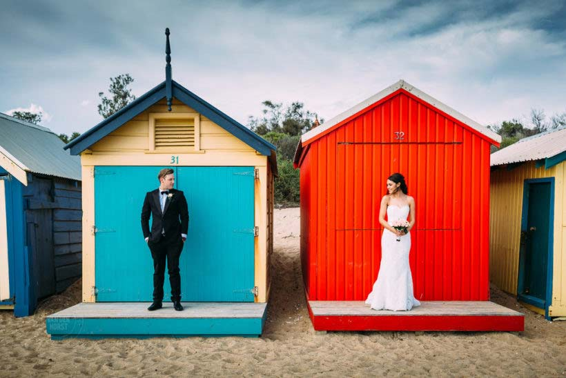 Wedding Photos at Melbourne's world famous Beachboxes